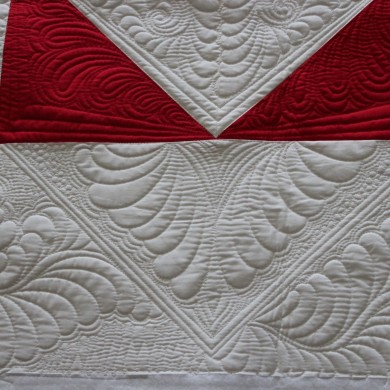 free-motion quilting feathers