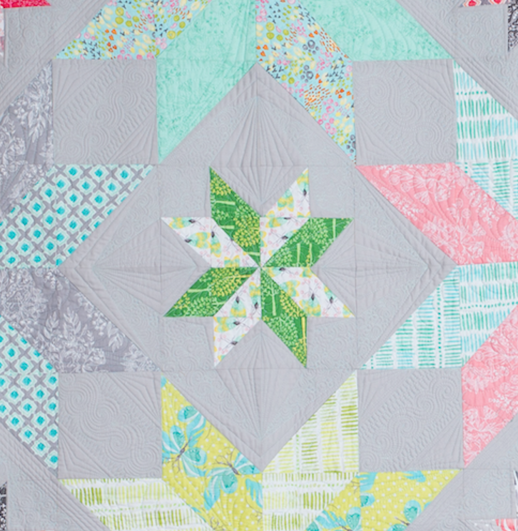 center of quilt with quilting