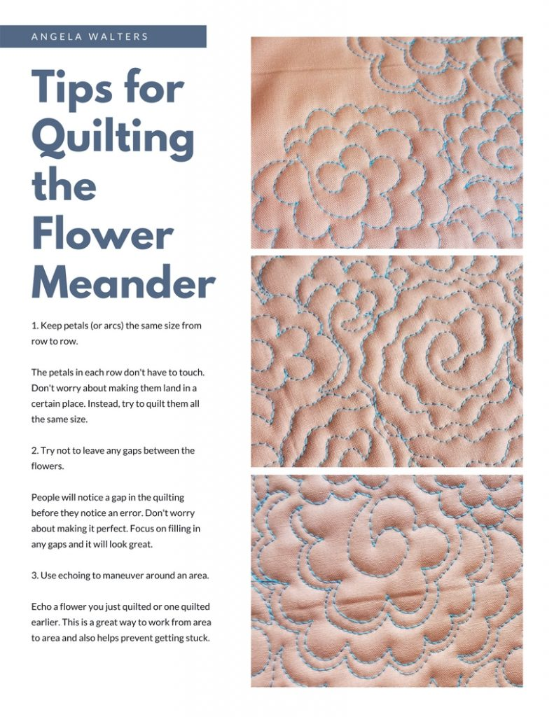 downloadable pdf quilting the flower meander