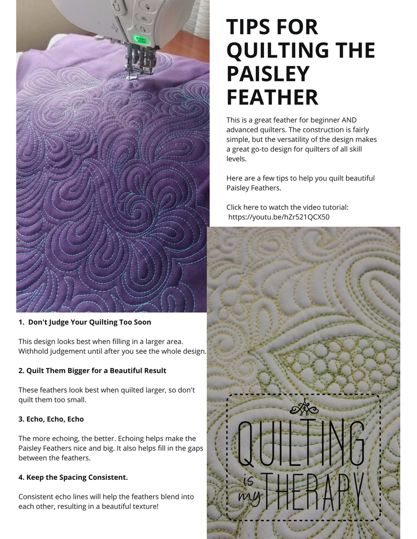 downloadable tip sheet for machine quilting the paisley feather design